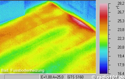 Thermography: Infrared image / thermal image: heat radiation of an underfloor heating