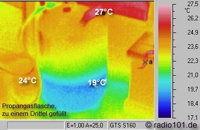 Thermography: Infrared image / thermal image: heat radiation of a propane cylinder
