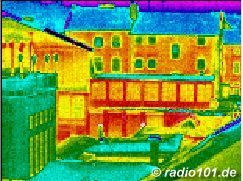Thermography: Infrared image / thermal image: heat radiation of flats