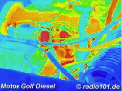 Thermography: Infrared image / thermal image: heat radiation of a car engine