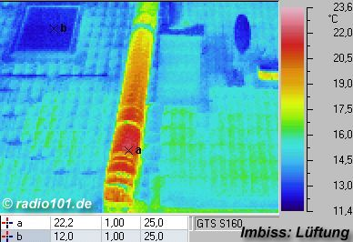 warm ventilation pipe on a cold roof  : Infrared image / thermal image