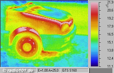 Thermography: Infrared image / thermal image: heat radiation of a VW Golf